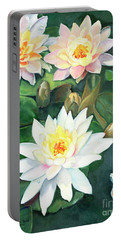 Portable Battery Charger featuring the painting Water Lilies And Koi by Marlene Book