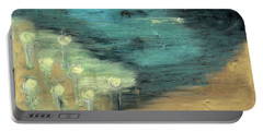 Portable Battery Charger featuring the painting Water Lilies At The Pond by Michal Mitak Mahgerefteh