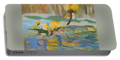 Portable Battery Charger featuring the painting Water Lilies by Francine Frank