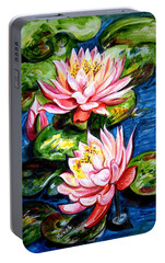 Portable Battery Charger featuring the painting Water Lilies  by Harsh Malik