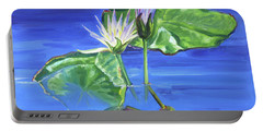 Water Lilies In Blue Portable Battery Charger