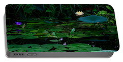 Water Lilies In The Pond Portable Battery Charger