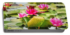Water Lilies Portable Battery Charger by Maciek Froncisz