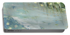 Portable Battery Charger featuring the painting Water Lilies by Michal Mitak Mahgerefteh