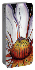 Portable Battery Charger featuring the painting Water Lilly  by Jolanta Anna Karolska