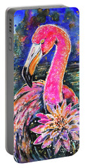 Portable Battery Charger featuring the painting Water Lily And Flamingo by Zaira Dzhaubaeva