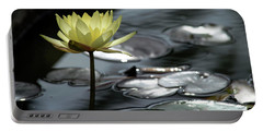 Water Lily And Silver Leaves Portable Battery Charger