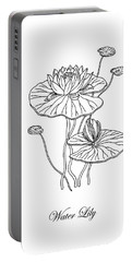 Water Lily Flower Botanical Drawing  Portable Battery Charger