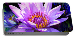 Water Lily In Purple Portable Battery Charger