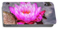 Water Lily In The Rain Portable Battery Charger