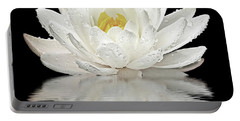 Water Lily Reflections On Black Portable Battery Charger by Gill Billington