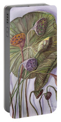 Water Lily Seed Pods Framed By A Leaf Portable Battery Charger