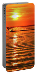Water Skiing At Sunrise  Portable Battery Charger