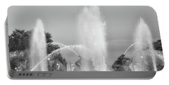Water Spray - Swann Fountain - Philadelphia In Black And White Portable Battery Charger by Bill Cannon