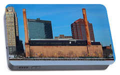 Portable Battery Charger featuring the photograph Water Street Steam Plant In Winter by Michiale Schneider