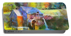 Portable Battery Charger featuring the painting Water Wheel Cottage by Wayne Pascall