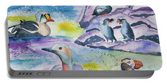 Watercolor - Alaska Seabird Gathering Portable Battery Charger