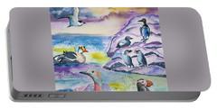 Watercolor - Alaska Seabird Gathering Portable Battery Charger
