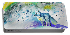 Watercolor - Arctic Fox Portable Battery Charger