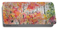 Portable Battery Charger featuring the painting Watercolor - Autumn Forest by Cascade Colors