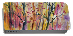 Portable Battery Charger featuring the painting Watercolor - Autumn Forest Impression by Cascade Colors