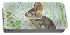 Portable Battery Charger featuring the painting Watercolor - Baby Bunny by Cascade Colors