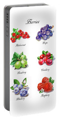 Watercolor Berries Illustration Collection I Portable Battery Charger