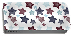 Watercolor Blue Red Stars Portable Battery Charger by P S