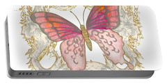 Watercolor Butterfly With Vintage Swirl Scroll Flourishes Portable Battery Charger