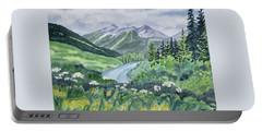 Watercolor - Colorado Summer Landscape Portable Battery Charger