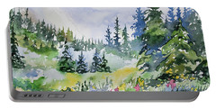 Portable Battery Charger featuring the painting Watercolor - Colorado Summer Scene by Cascade Colors