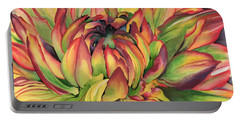 Portable Battery Charger featuring the painting Watercolor Dahlia by Angela Armano