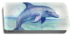 Watercolor Dolphin Painting - Facing Right Portable Battery Charger