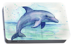 Watercolor Dolphin Painting - Facing Right Portable Battery Charger by Olga Shvartsur
