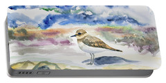 Portable Battery Charger featuring the painting Watercolor - Double-banded Plover On The Beach by Cascade Colors