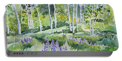 Watercolor - Early Summer Aspen And Lupine Portable Battery Charger