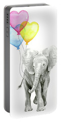 Watercolor Elephant With Heart Shaped Balloons Portable Battery Charger
