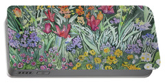 Portable Battery Charger featuring the painting Watercolor - Empress Hotel Gardens by Cascade Colors