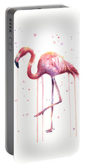 Watercolor Flamingo Portable Battery Charger