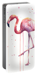 Watercolor Flamingo Portable Battery Charger by Olga Shvartsur