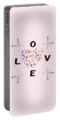 Watercolor Flowers Arrows Love Typography Portable Battery Charger by Georgeta Blanaru