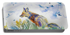 Watercolor - Fox On The Lookout Portable Battery Charger