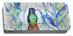 Portable Battery Charger featuring the painting Watercolor - Golden-tailed Sapphire by Cascade Colors
