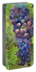 Watercolor Grapes Painting Portable Battery Charger by Olga Shvartsur