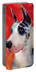 Watercolor Harlequin Great Dane Dog Portrait 2  Portable Battery Charger