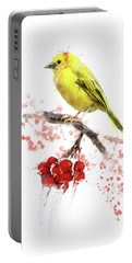 Watercolor Image Of  Yellow Bird Portable Battery Charger
