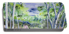 Portable Battery Charger featuring the painting Watercolor - Lake Superior Impression by Cascade Colors