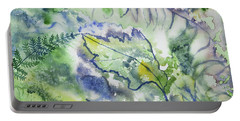 Portable Battery Charger featuring the painting Watercolor - Leaves And Textures Of Nature by Cascade Colors