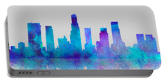 Portable Battery Charger featuring the digital art Watercolor Los Angeles Skylines On An Old Paper by Georgeta Blanaru