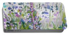 Watercolor - Lupine Wildflowers Portable Battery Charger